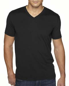 Black Men's Premium Fitted Sueded V-Neck Tee
