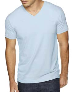 Light Blue Men's Premium Fitted Sueded V-Neck Tee