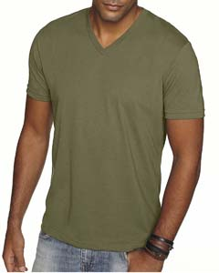 Military Green Men's Premium Fitted Sueded V-Neck Tee
