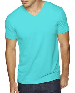 Tahiti Blue Men's Premium Fitted Sueded V-Neck Tee
