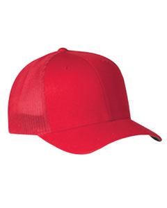 Red 6-Panel Trucker Cap