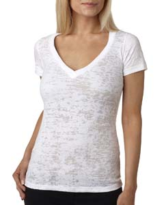White Ladies' Burnout Deep V Tee