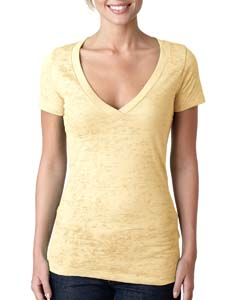 Banana Cream Ladies' Burnout Deep V Tee