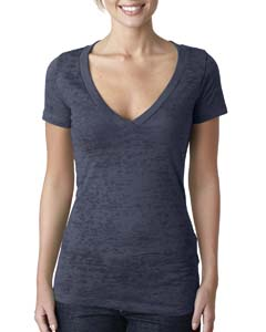 Indigo Ladies' Burnout Deep V Tee