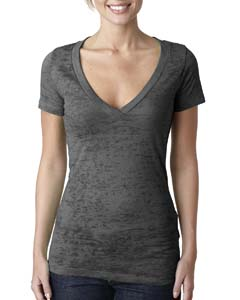 Dark Gray Ladies' Burnout Deep V Tee