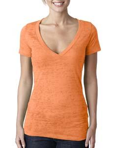 Neon Orange Ladies' Burnout Deep V Tee