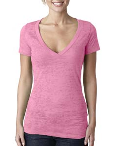 Neon Pink Ladies' Burnout Deep V Tee