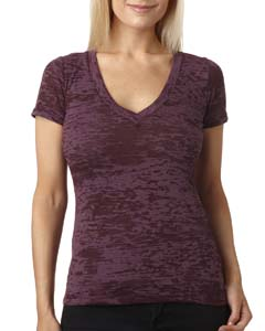 Plum Ladies' Burnout Deep V Tee