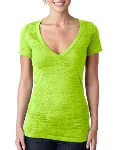 Neon Green Ladies' Burnout Deep V Tee