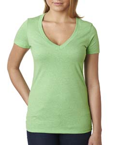 Apple Green Ladies CVC Deep V Tee