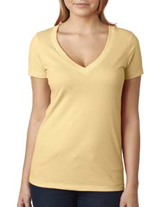 Banana Cream Ladies CVC Deep V Tee