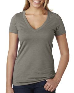 Warm Gray Ladies CVC Deep V Tee