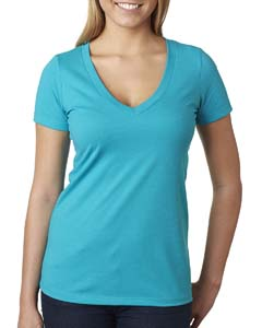 Bondi Blue Ladies CVC Deep V Tee