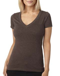 Espresso Ladies CVC Deep V Tee