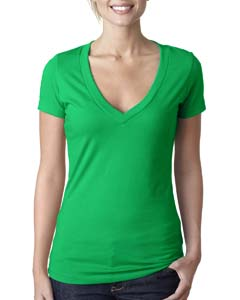 Kelly Green Ladies CVC Deep V Tee