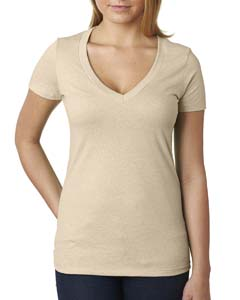 Cream Ladies CVC Deep V Tee