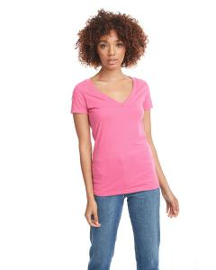 Hot Pink Ladies CVC Deep V Tee