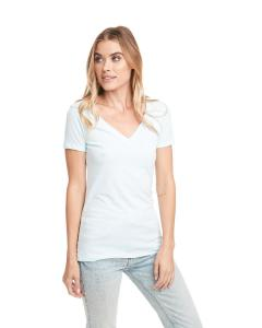 Ice Blue Ladies CVC Deep V Tee