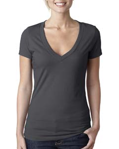 Charcoal Ladies CVC Deep V Tee