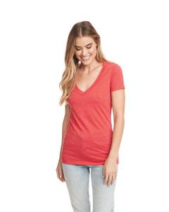 Red Ladies CVC Deep V Tee