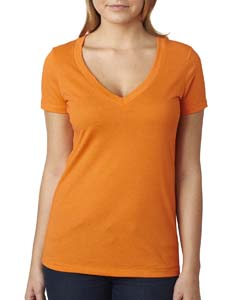 Orange Ladies CVC Deep V Tee