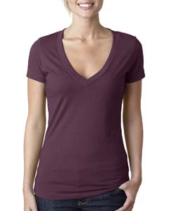 Plum Ladies CVC Deep V Tee
