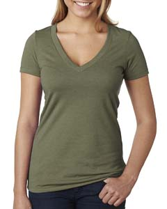 Military Green Ladies CVC Deep V Tee