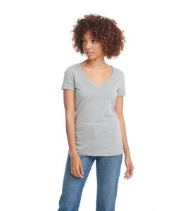 Dark Hthr Gray Ladies CVC Deep V Tee