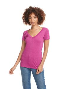 Raspberry Ladies CVC Deep V Tee