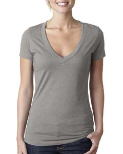 Stone Gray Ladies CVC Deep V Tee
