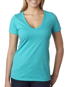Tahiti Blue Ladies CVC Deep V Tee