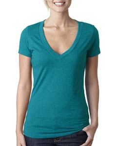 Teal Ladies CVC Deep V Tee