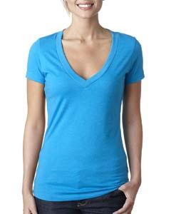 Turquoise Ladies CVC Deep V Tee