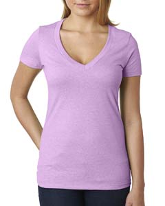Lilac Ladies CVC Deep V Tee