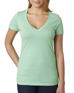 Mint Ladies CVC Deep V Tee