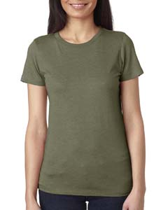Military Green Ladies Triblend Crew