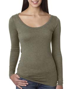 Venetian Gray Ladies Triblend Long Sleeve Scoop Tee