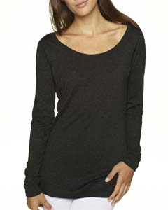 Vintage Black Ladies Triblend Long Sleeve Scoop Tee