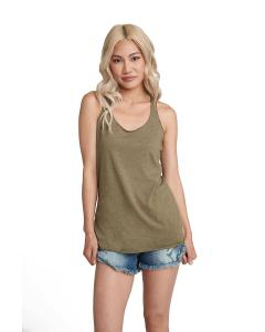 Military Green Ladies Triblend Racerback Tank