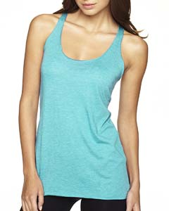 Tahiti Blue Ladies Triblend Racerback Tank