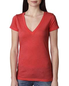 Vintage Red Ladies Triblend Deep-V Tee