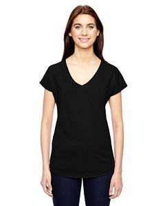 Black Ladies Triblend V-Neck T-Shirt