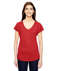 Heather Red Ladies Triblend V-Neck T-Shirt