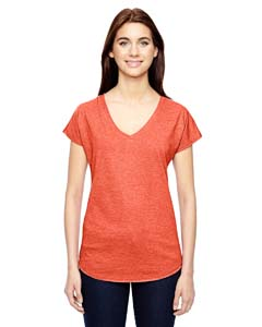 Heather Orange Ladies Triblend V-Neck T-Shirt