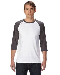 Wht/ Tr H Dk Gry Triblend 3/4-Sleeve Raglan T-Shirt