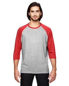 Hth Gr/ Tr H Red Triblend 3/4-Sleeve Raglan T-Shirt