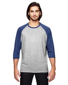 Hth Gr/ Tr Hblue Triblend 3/4-Sleeve Raglan T-Shirt