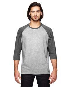 Ht Gy/ Ht Dk Grn Triblend 3/4-Sleeve Raglan T-Shirt