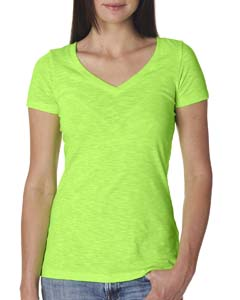 Neon Hthr Green Ladies Slub Crossover V-Neck Tee
