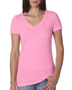 Neon Hthr Pink Ladies Slub Crossover V-Neck Tee